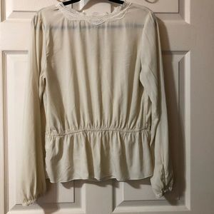 Abercrombie & Fitch Tops - Cream A&F V-Neck Blouse SIZE: LARGE